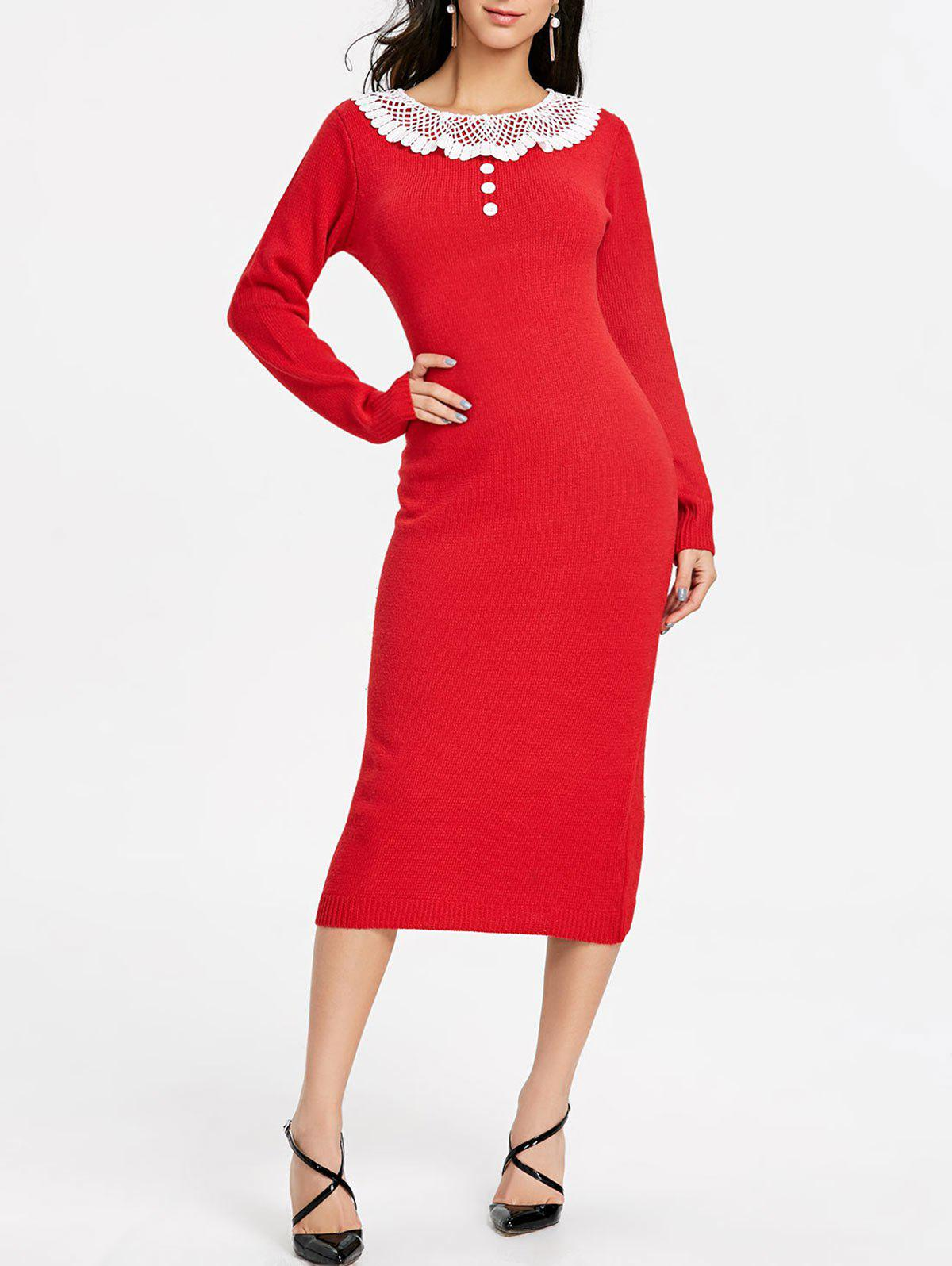Lace Panel Midi Sweater Dress - RED ONE SIZE