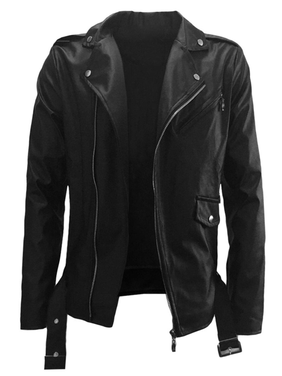 Belt Design PU Leather Zip Up Jacket pu leather and corduroy spliced zip up down jacket