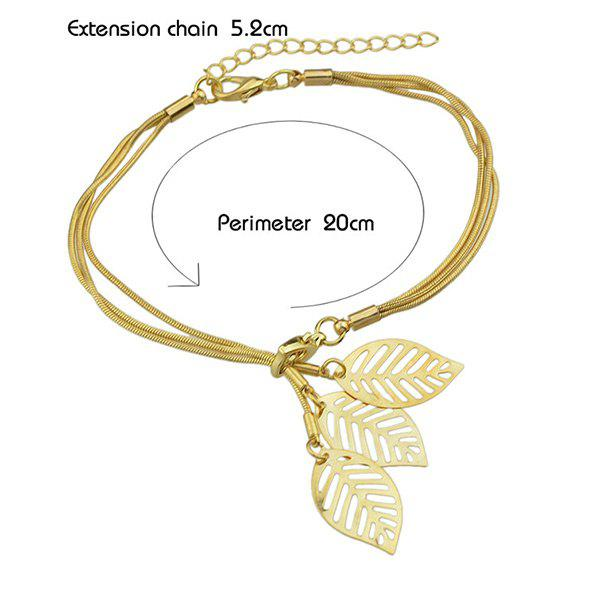 Alloy Leaf Multilayered Bracelet - GOLDEN