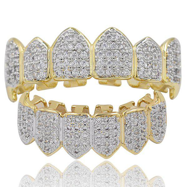 Rhinestone Hip Hop Top with Bottom Teeth Grillz Set - GOLDEN