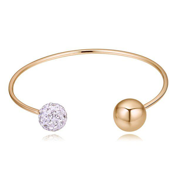 Artificial Crystal Ball Cuff  Bracelet - GOLDEN