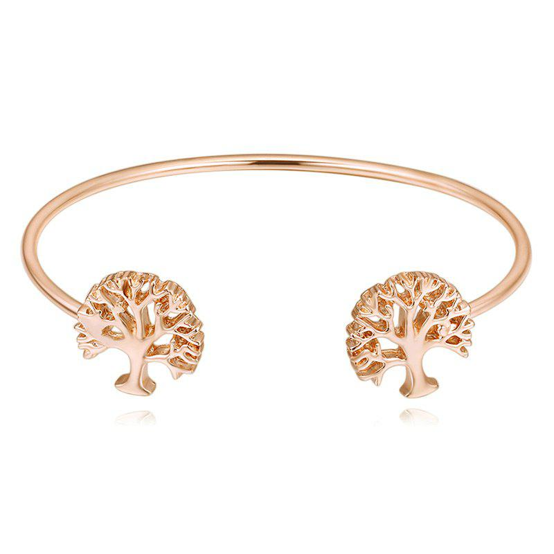 Hollow Out Tree Embellished Cuff Bracelet - GOLDEN