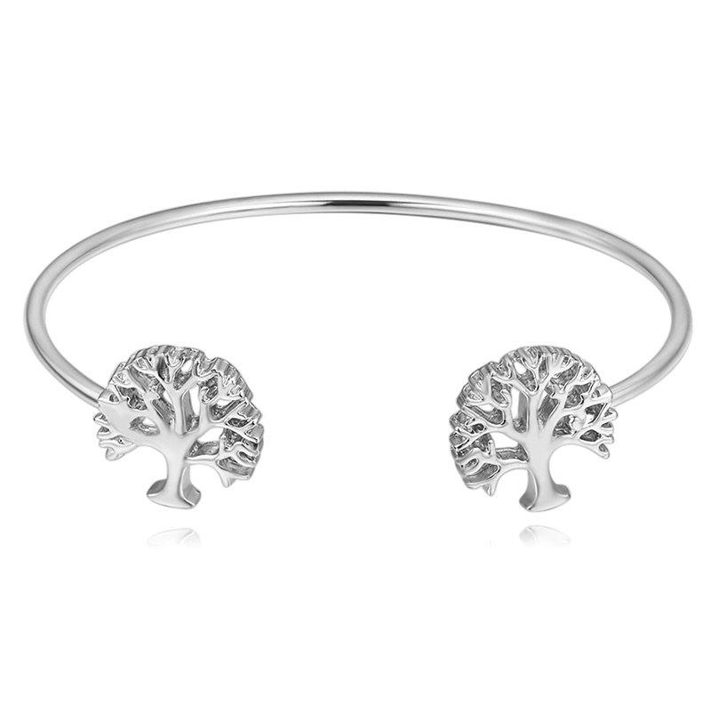 Hollow Out Tree Embellished Cuff Bracelet - SILVER