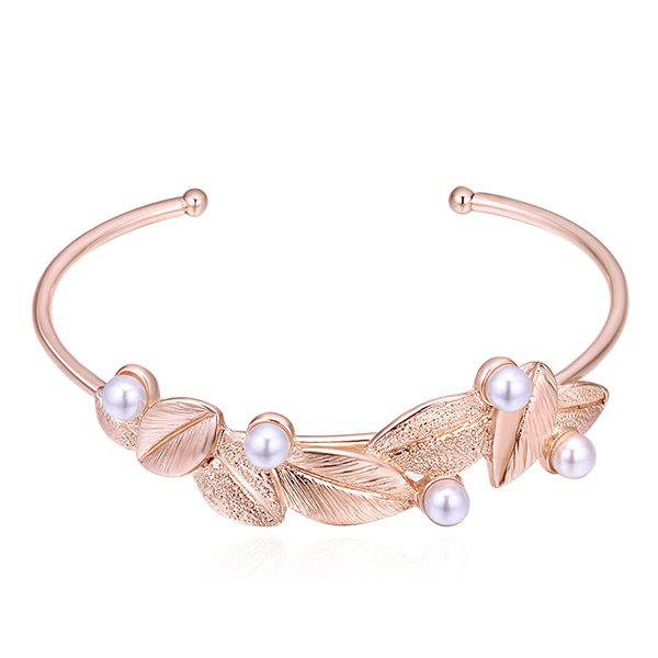 Leaf Faux Pearls Embellished Cuff Bracelet - ROSE GOLD
