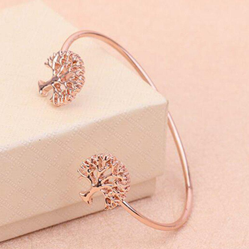Hollow Out Tree Embellished Cuff Bracelet - ROSE GOLD
