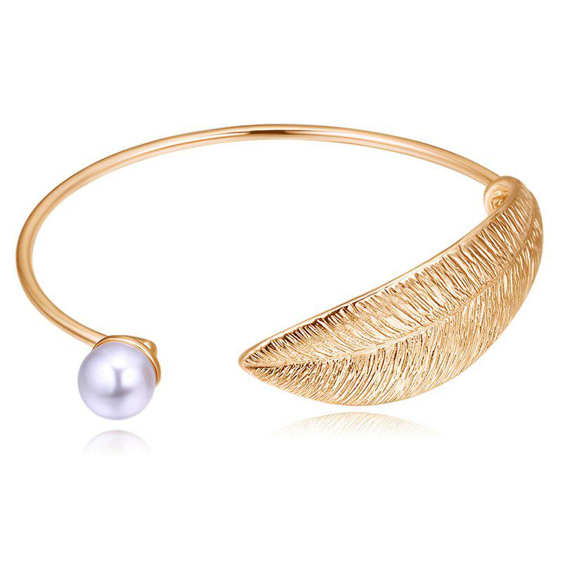 Faux Pearl Leaf Decoration Cuff Bracelet faux fur cuff pearl beading scallop dress page 7