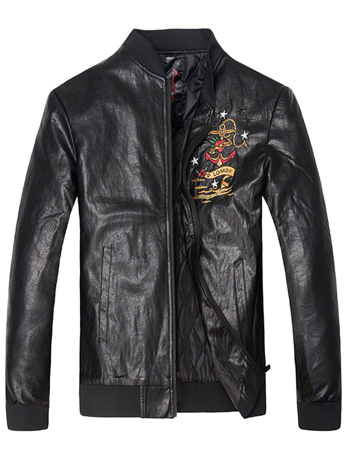 Embroidered PU Leather Zip Up Jacket sequin embroidered zip up jacket page 8