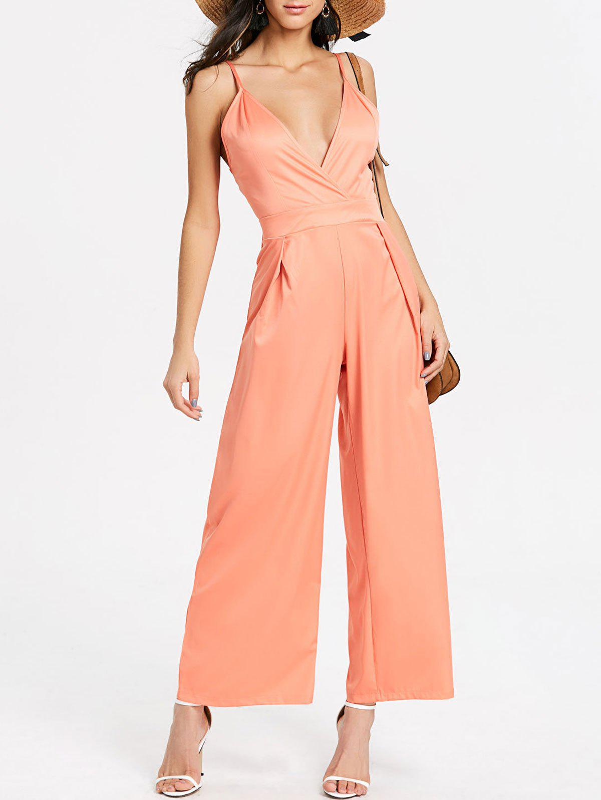 Backless Spaghetti Strap Jumpsuit - PINK S