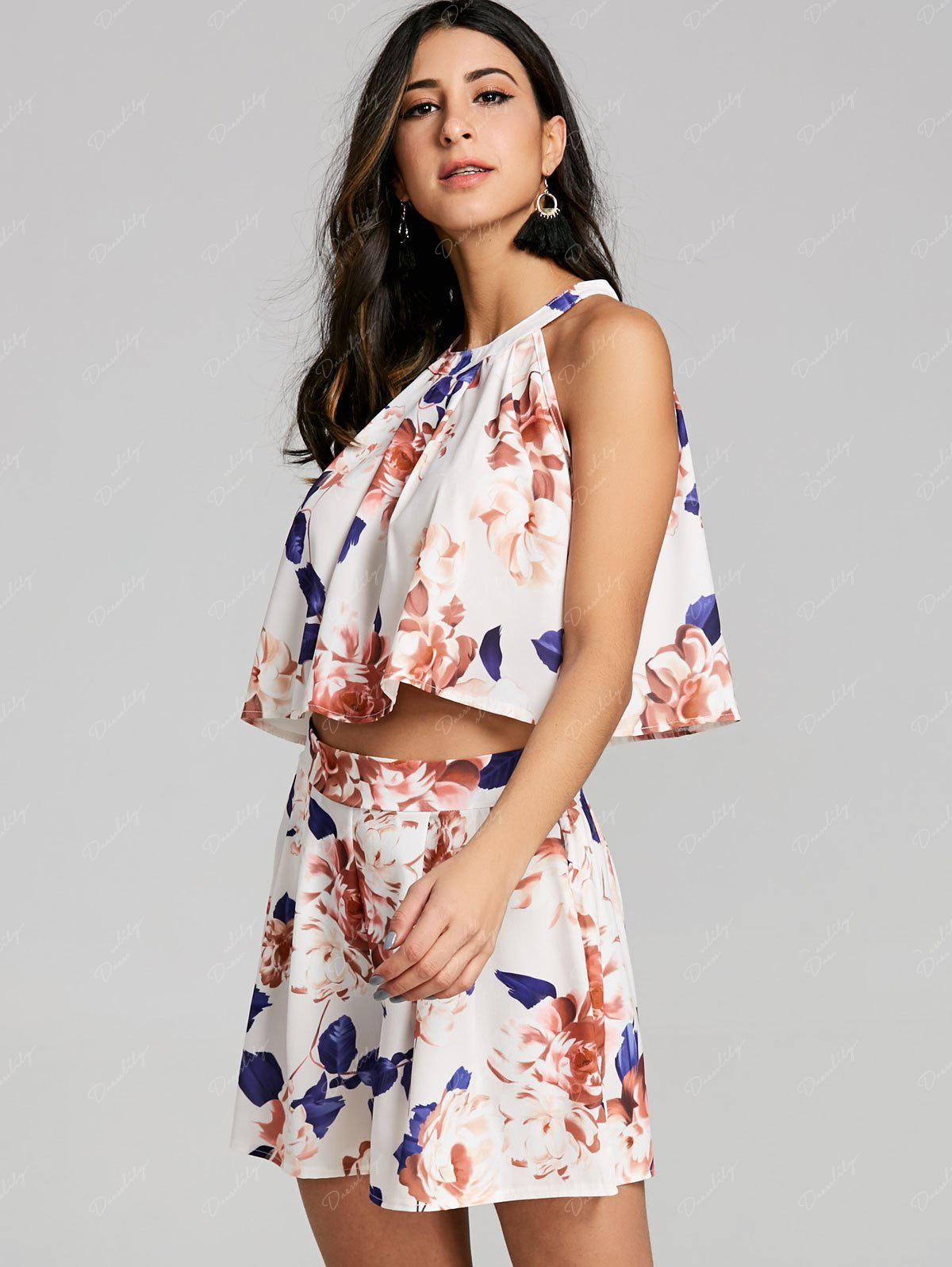 Floral Shorts Two Piece Set - OFF WHITE XL