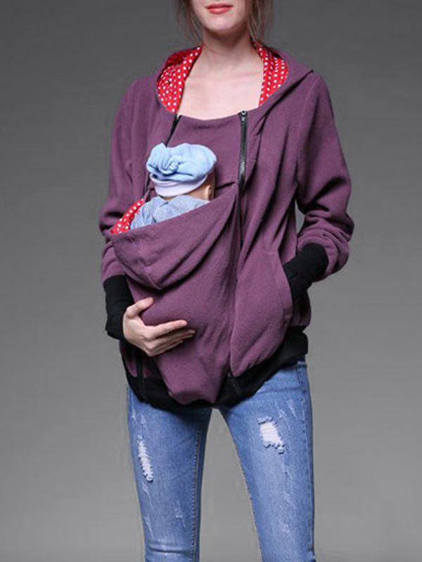 Baby Pouch Zip Up Hoodie - PURPLE M