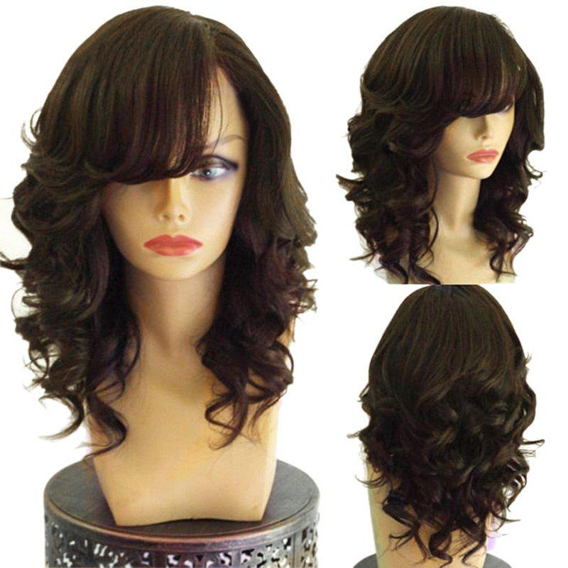 Long Inclined Bang Layered Loose Wave Synthetic Wig - DEEP BROWN