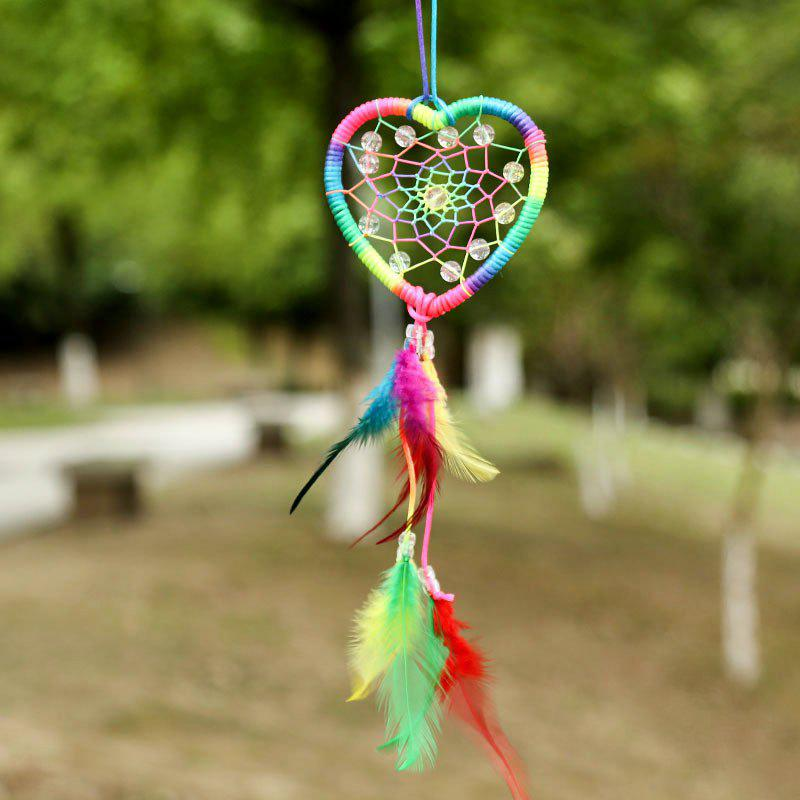 Valentine's Day Heart Bead Feather Dream Catcher Wall Hanging - COLORFUL