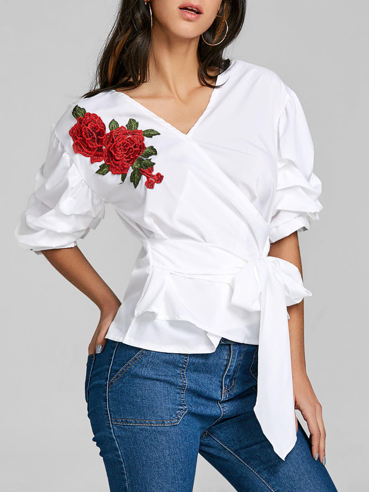 Striped Bowknot Embroidered Blouse contrast embroidered mesh yoke bow tie striped blouse