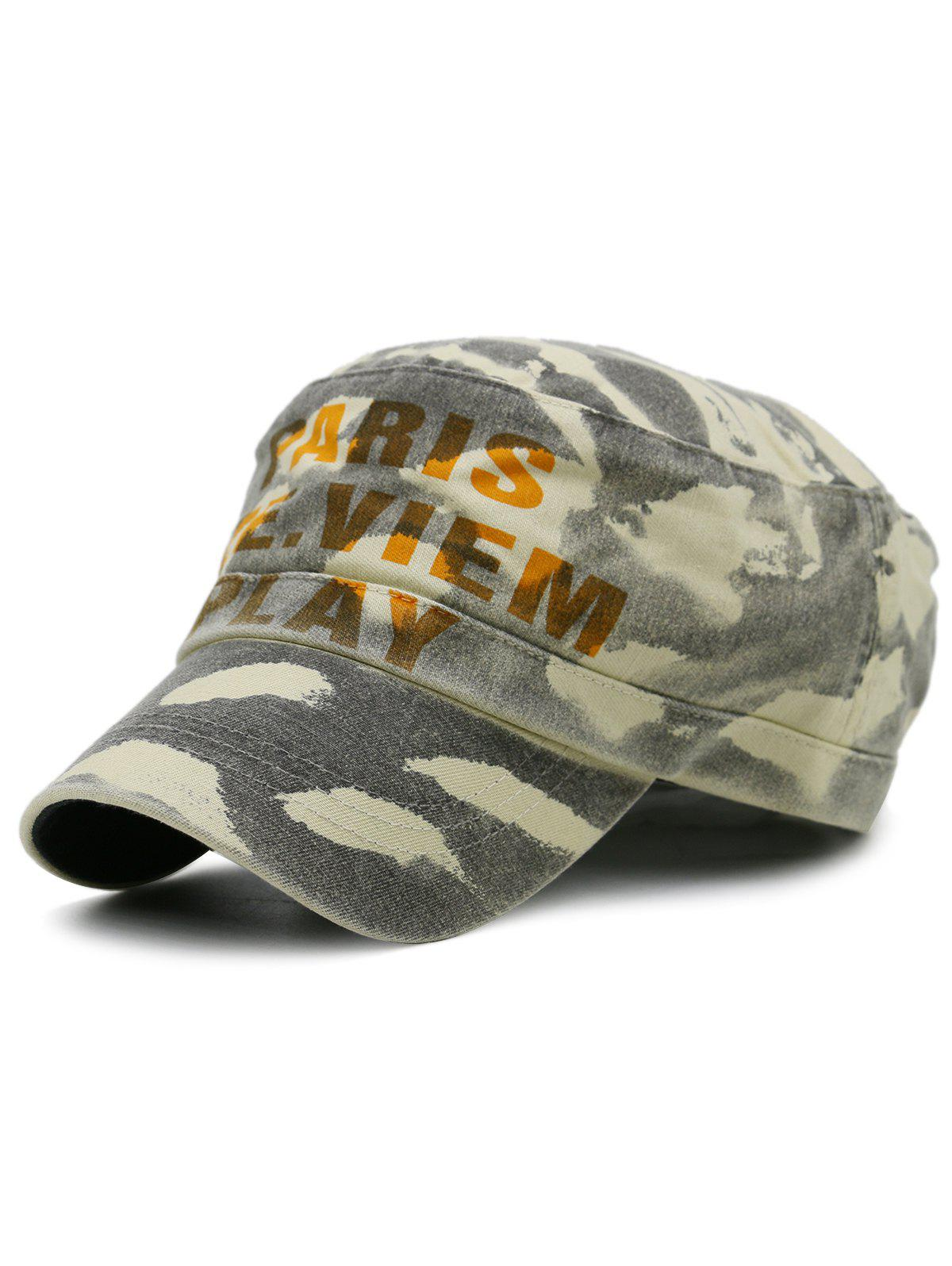 PARIS SEE VIEW PLAY Pattern Embellished Army Hat - GRAY