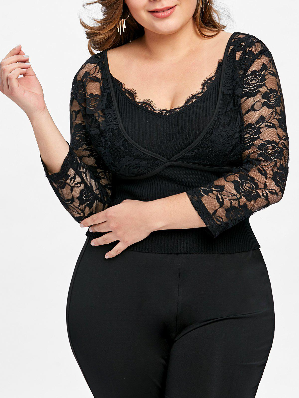 Plus Size Lace Sheer Crop Top toyo observe g3 ice 175 65 r15 84t