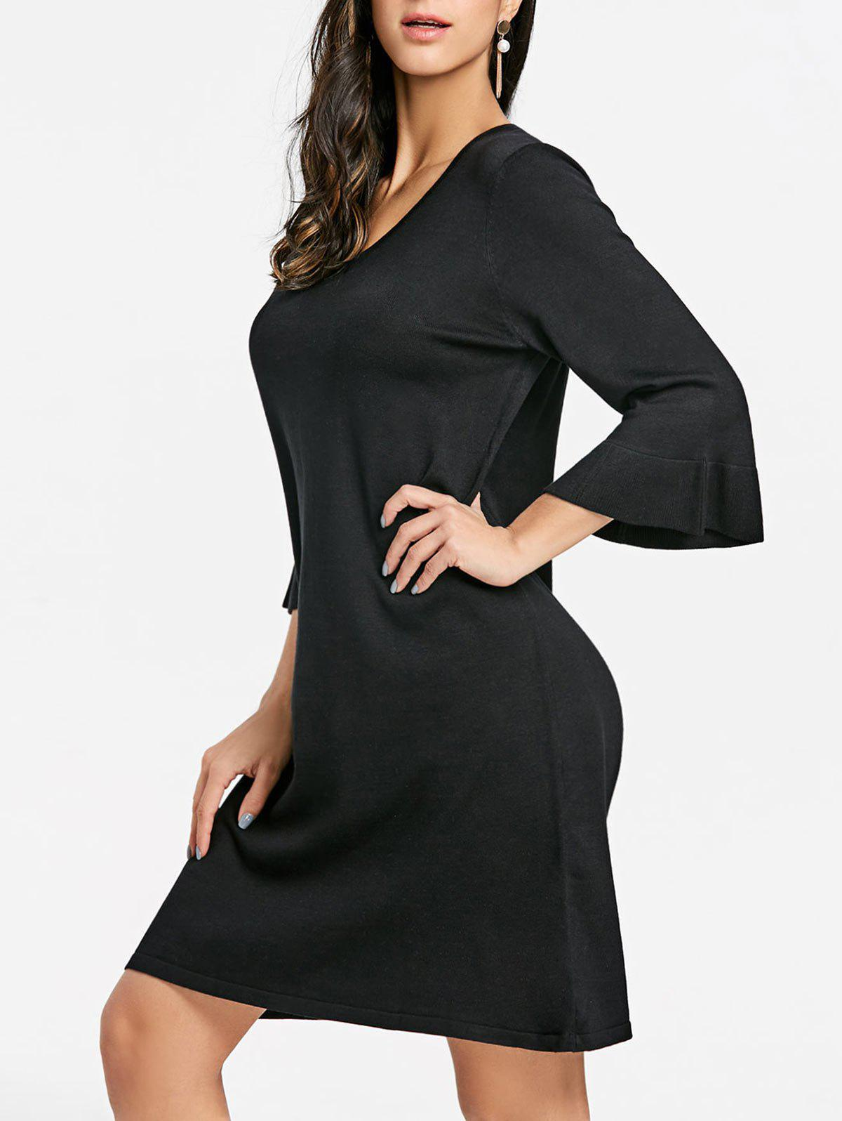 Flare Sleeve Mini Shift Dress - BLACK ONE SIZE