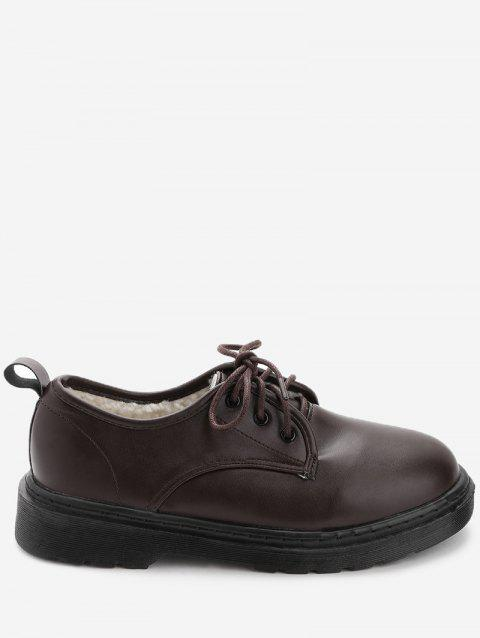 Round Toe PU Leather Loafers with Faux Fur - BROWN 37