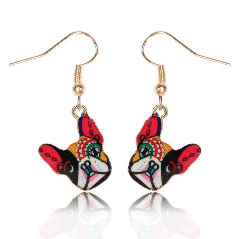 Puppy Pattern Design Drop Earrings - RED