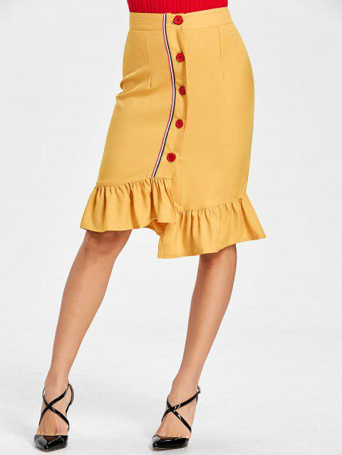 Flounce High Waisted Bodycon Skirt - YELLOW M