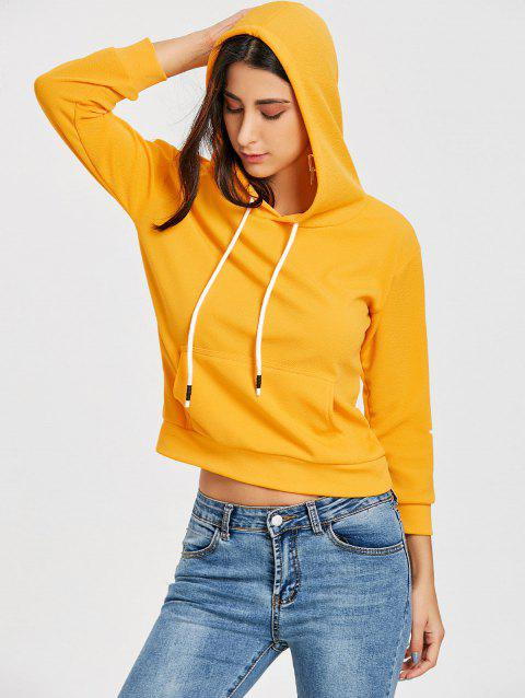 Pullover Drawstring Graphic Hoodie - YELLOW S