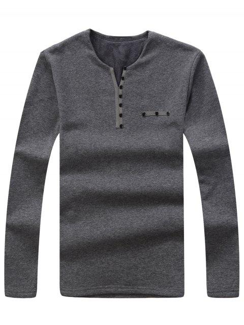 Split V-Neck Button Embellished Thermal Shirt - GRAY 2XL