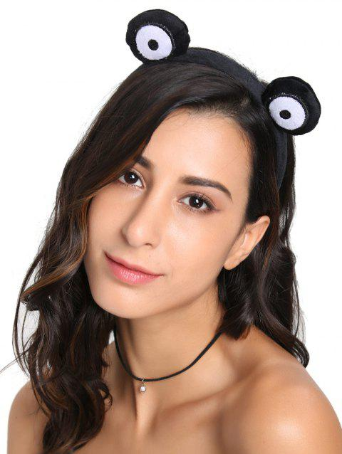 Cute Fuzzy Round Eyes Hairband - BLACK