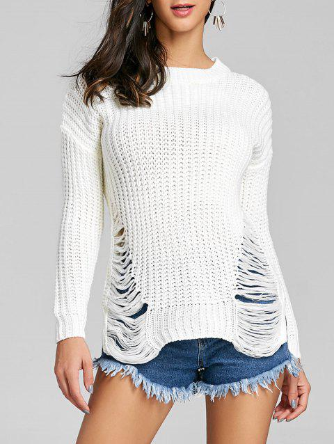 Chunky Knit Ripped Sweater - WHITE ONE SIZE