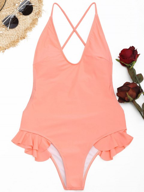 Ruffle Crisscross One Piece Swimsuit - ORANGEPINK M