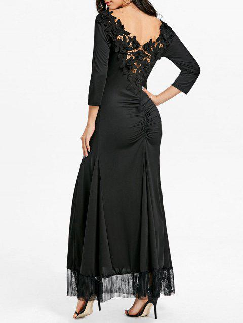 Back Ruched Lace Maxi Dress - BLACK XL
