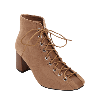 Chunky Heel Squared Toe Boots - BROWN 38