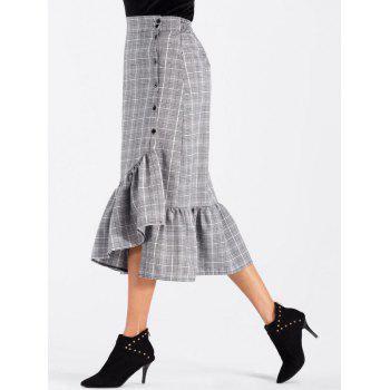 High Waisted Flounce Plaid Midi Skirt - GRAY L