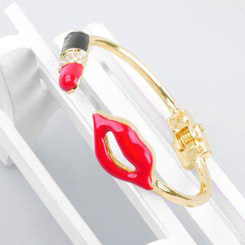 Valentine's Day Red Mouth Shape Cuff Bracelet - GOLDEN