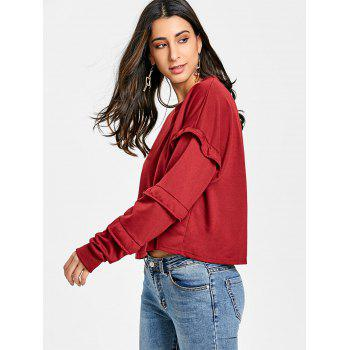 Ruffle Crew Neck Sweatshirt - RED M