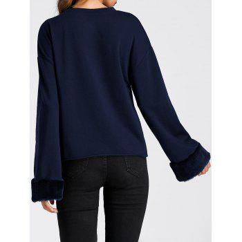 Faux Fur Insert Drop Shoulder Sweatshirt - PURPLISH BLUE L