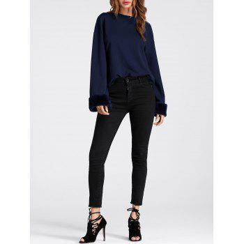 Faux Fur Insert Drop Shoulder Sweatshirt - PURPLISH BLUE M