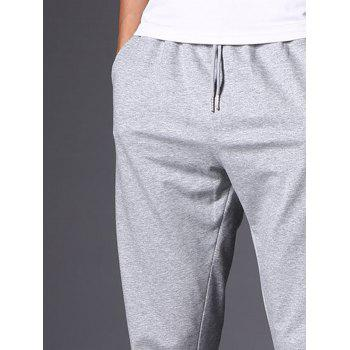 Casual Drawstring Straight Leg Sweatpants - LIGHT GRAY 3XL