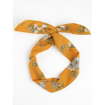 Vintage Flower Printed Headband - YELLOW