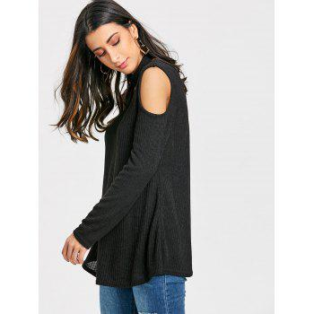 V Neck Cold Shoulder Sweater with Choker - BLACK L