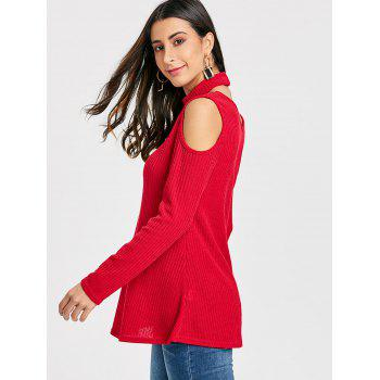 V Neck Cold Shoulder Sweater with Choker - RED L