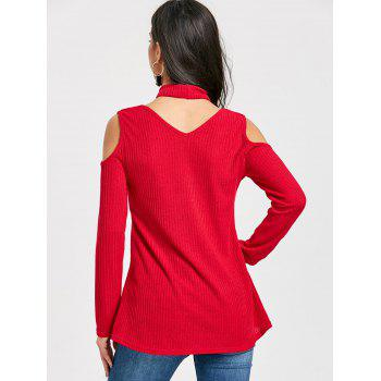 V Neck Cold Shoulder Sweater with Choker - RED M