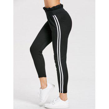 High Waist Ruffle Striped Leggings - BLACK BLACK