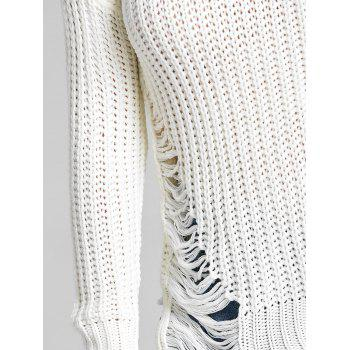 Chunky Knit Ripped Sweater - WHITE WHITE