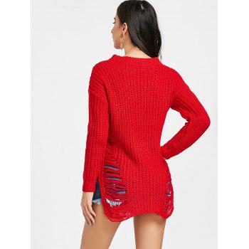 Chunky Knit Ripped Sweater - RED ONE SIZE