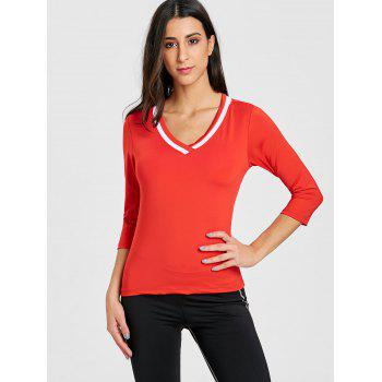 Contrast V Neck Workout T-shirt - RED M