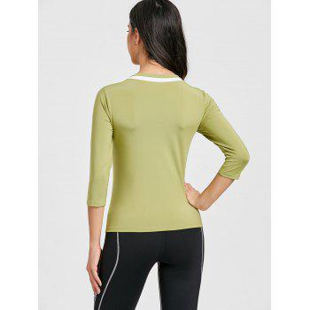 Contrast V Neck Workout T-shirt - GREEN L