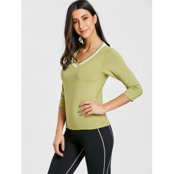 Contrast V Neck Workout T-shirt - GREEN M