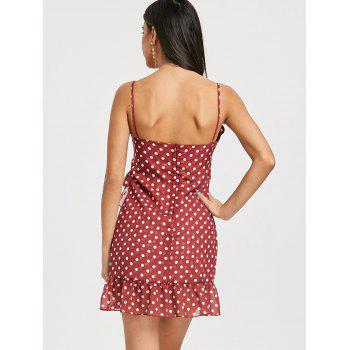 Polka Dot Ruffle Cami Asymmetrical Dress - RED BROWN RED BROWN