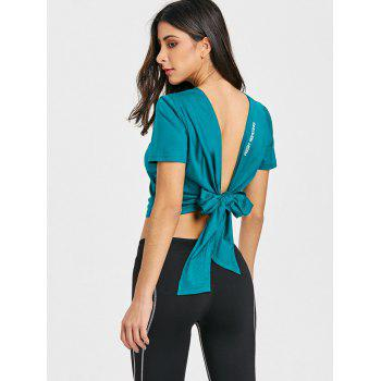 Sports Back Wrap Cropped T-shirt - PEACOCK BLUE PEACOCK BLUE