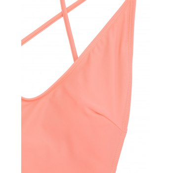 Ruffle Crisscross One Piece Swimsuit - ORANGEPINK L