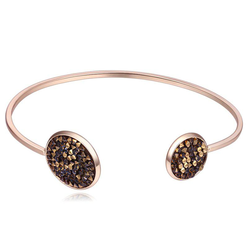 Faux Crystal Embellished Cuff Bracelet - CAPPUCCINO
